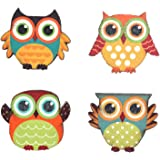 YK Decor Wood Magnetic Owl Display set of 4