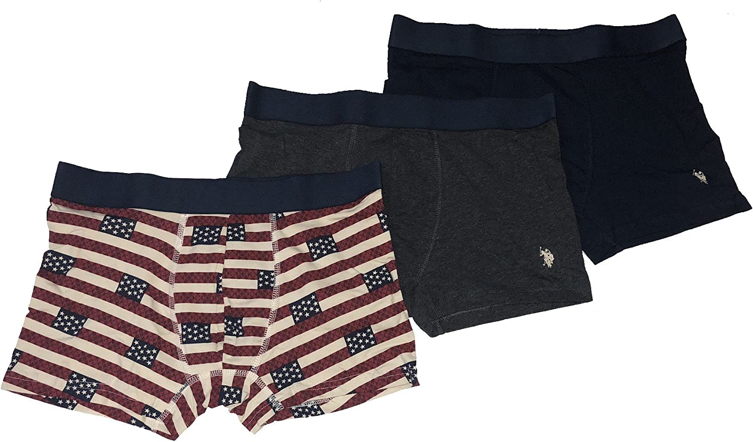 U.S. Polo Assn. Men's 3-Pack Stretch Trunks Cotton Boxer Briefs