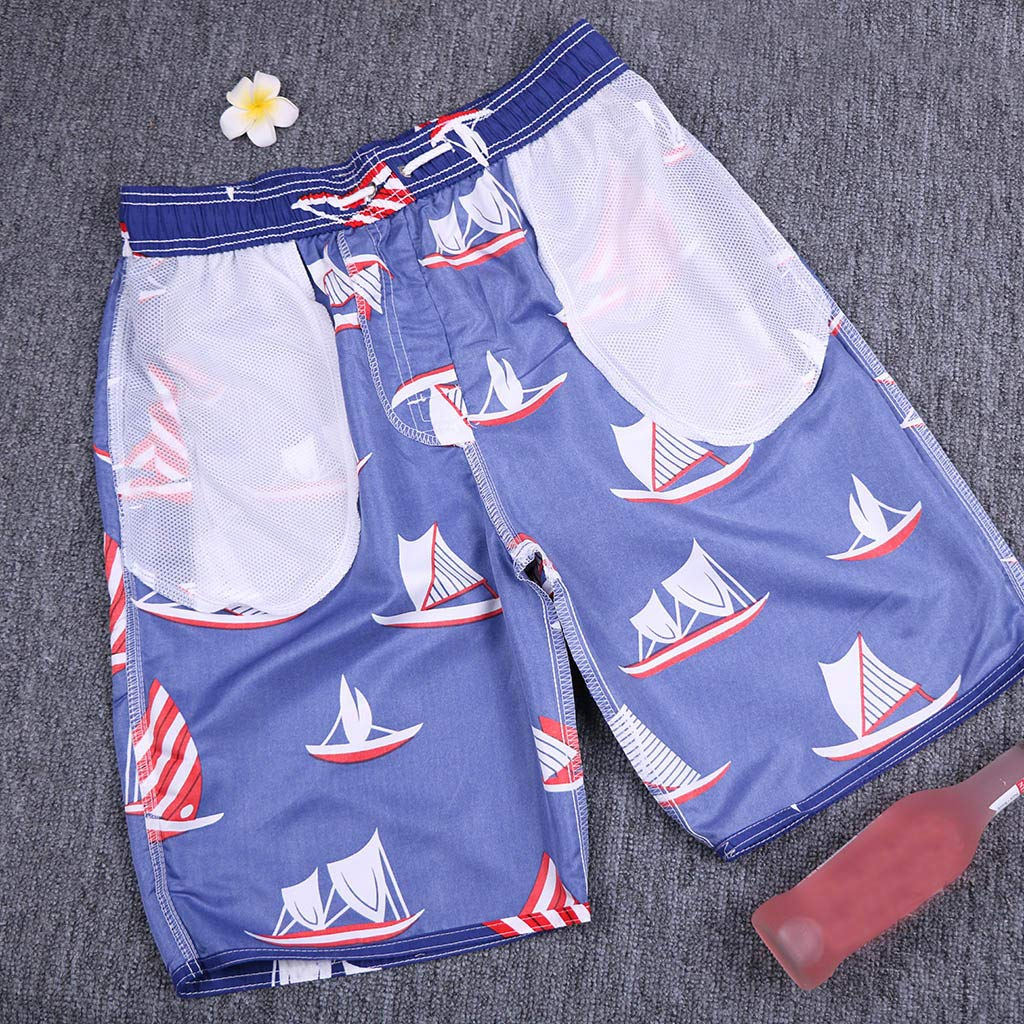 Naladoo Mens Boat Print Swim Trunk Quick Dry Beach Shorts Boardshort with Pocket