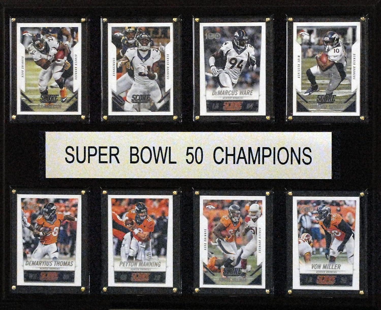 C& I Collectables NFL Denver Broncos Super Bowl 50-8-Card Plaque Frame, 12 x 15, Brown 12 x 15 Inc. 1215SB508C