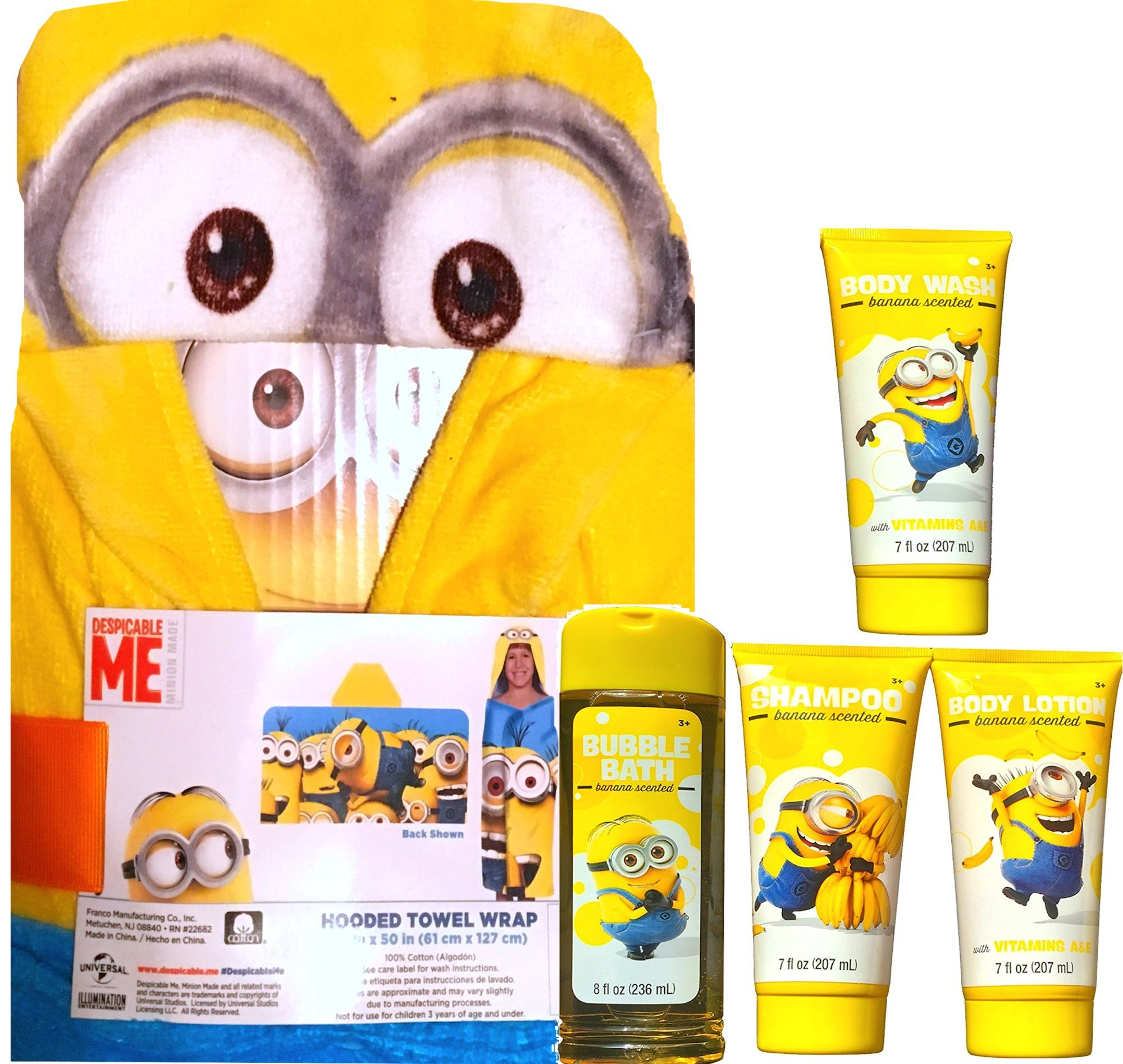 Minions Movie Exclusive Hooded Towel Wrap Includes Minion Bannana Scented Bubble Bath , Minion Shampoo, Minion Body Wash and Minion Body Lotion Gift SET