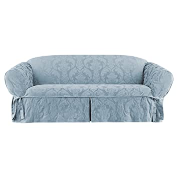 Amazon Com Sure Fit Matelasse Damask One Piece Sofa Slipcover Blue