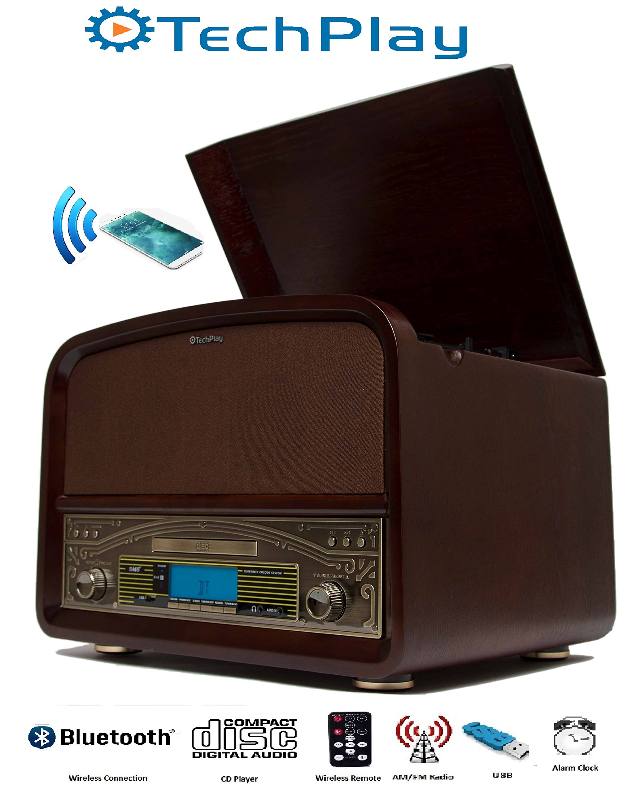 TechPlay TCP9560, High Power 20W Retro wooden 3 speed Bluetooth turntable, with CD Player, AM/FM radio, USB recording and playback with remote control. (Walnut Wood)
