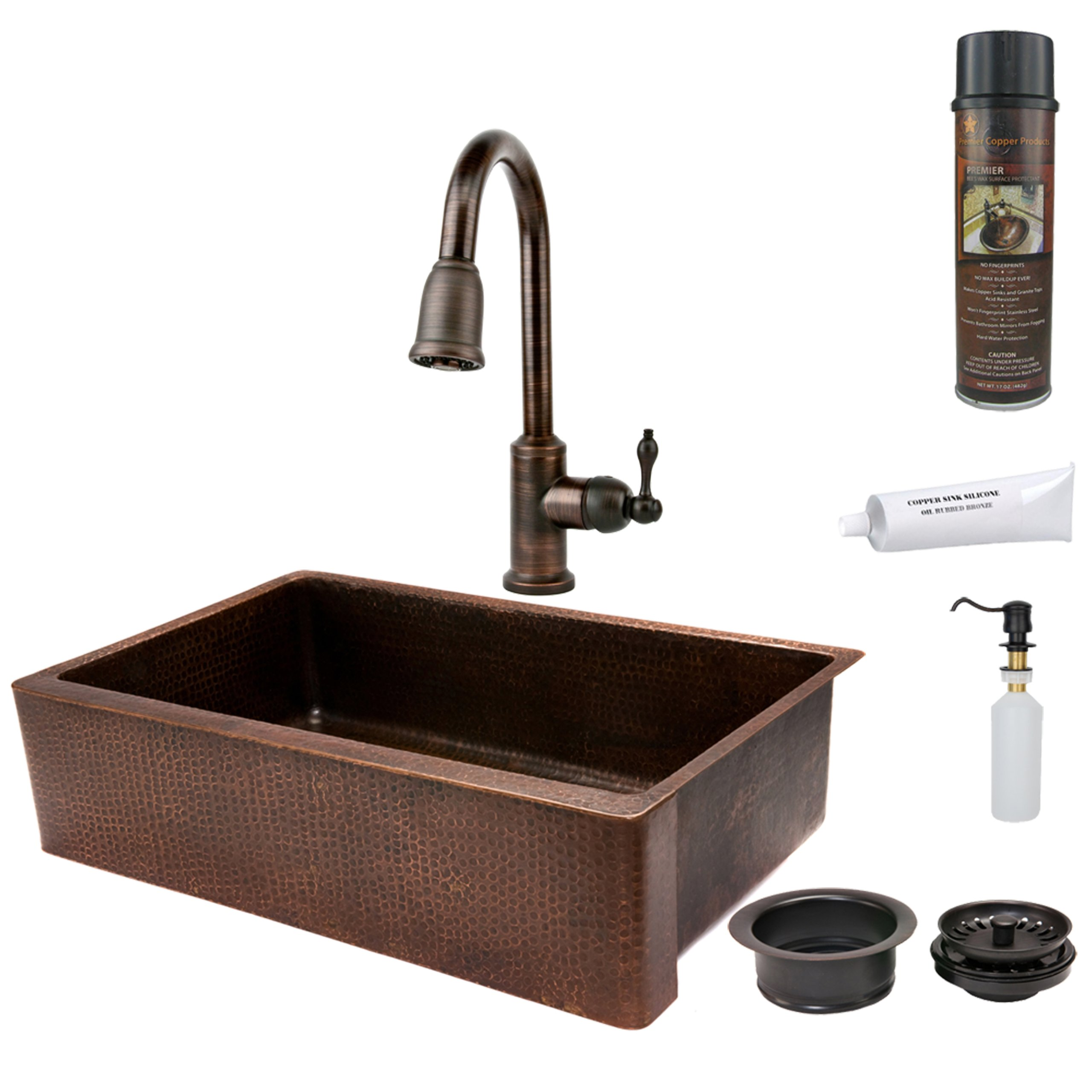 Premier Copper Products KSP2_KASDB35229 35-Inch Hammered Copper Kitchen Apron Single Basin Sink with Pull Down Faucet, Oil Rubbed Bronze by Premier Copper Products