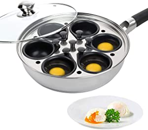 Egg Poacher Pan - Stainless Steel Poached Egg Cooker – Perfect Poached Egg Maker – Induction Cooktop Egg Poachers Cookware Set with 6 Large Egg Poacher Cups and Silicone Spatula