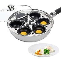 Huevera chamarra de huevos escalfados de acero inoxidable – perfecto para hacer huevos escalfados – Cocina de inducción…