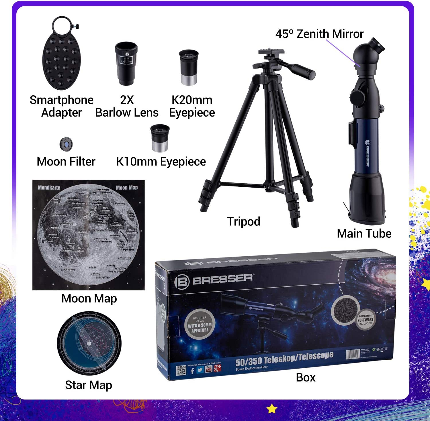 Moon Map Phone Adapter Moon Filter,Compass Upgrade Telescope for Kid HD 70X Refractor Telescopes for Astronomy Adjustable Tripod