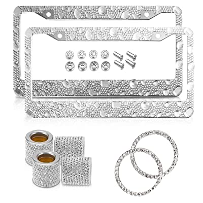 The Bling World – Pack of 8 Items – 2 Rhinestone License Plate Frame, 2 Ring Key, and 4 Seat Headset Rings – Durable and Rust Resistant – Stylish Outlook – Universal Compatibility – Easy to Install: Automotive