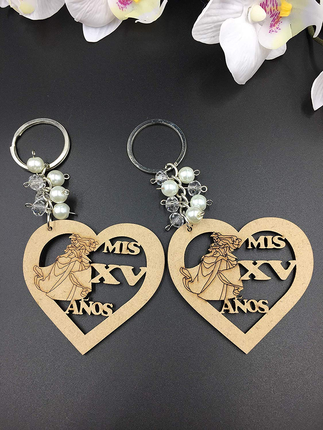 12Pcs Sweet 15 Wood Design Keychain Quincea/ñera Recuerdos Favors for Girl With Organza Bags