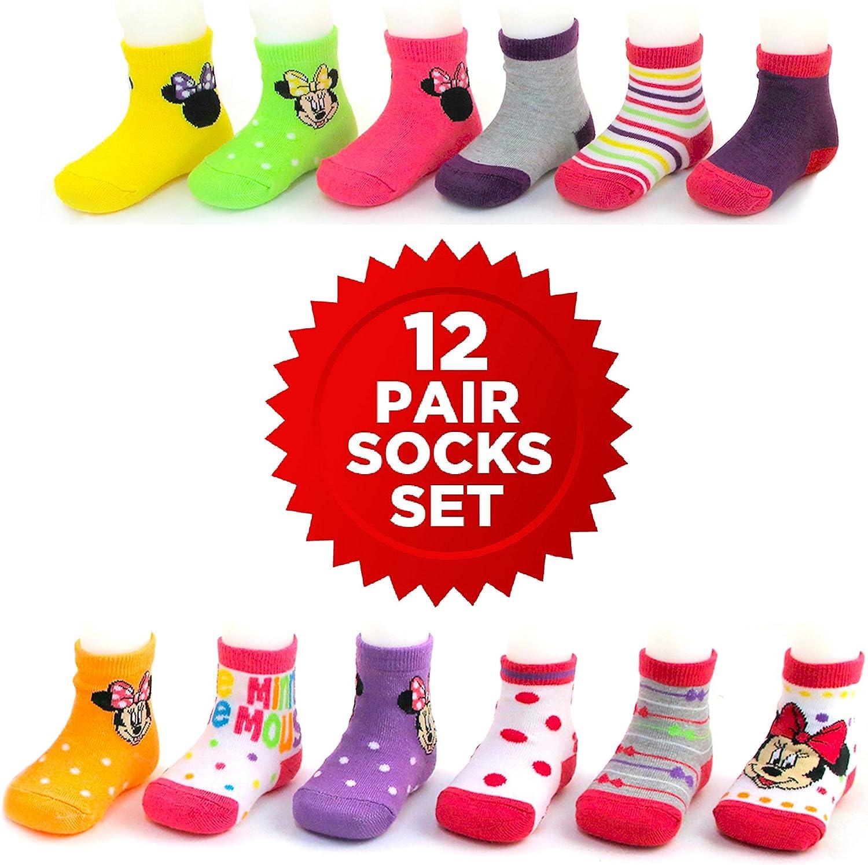 12pairs minnie mickey mouse cartoon Children ankle socks 6-10Y kids socks gift
