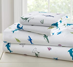 Wildkin Kids 100% Cotton Twin Sheet Set for Boys and Girls, Bedding Set Includes Top Sheet, Fitted Sheet, One Standard Pillow Case, Certified Oeko-TEX Standard 100, Olive Kids (Shark Attack)
