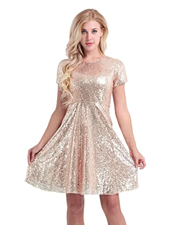 ed4dc1bcbdb7 YiZYiF Women Sequined Cocktail Party Short Sleeve Bridesmaid A Line Skater Dress  Gold 4