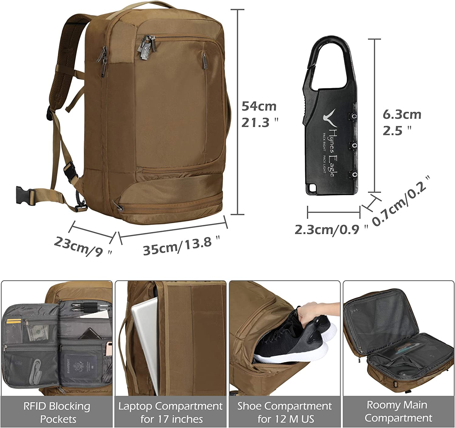 Hynes Eagle 42L Travel Backpck Anti Theft Carry on Backpack Suitcase Backpack Laptop Backpack with RFID Blocking Pocket for Men and Women