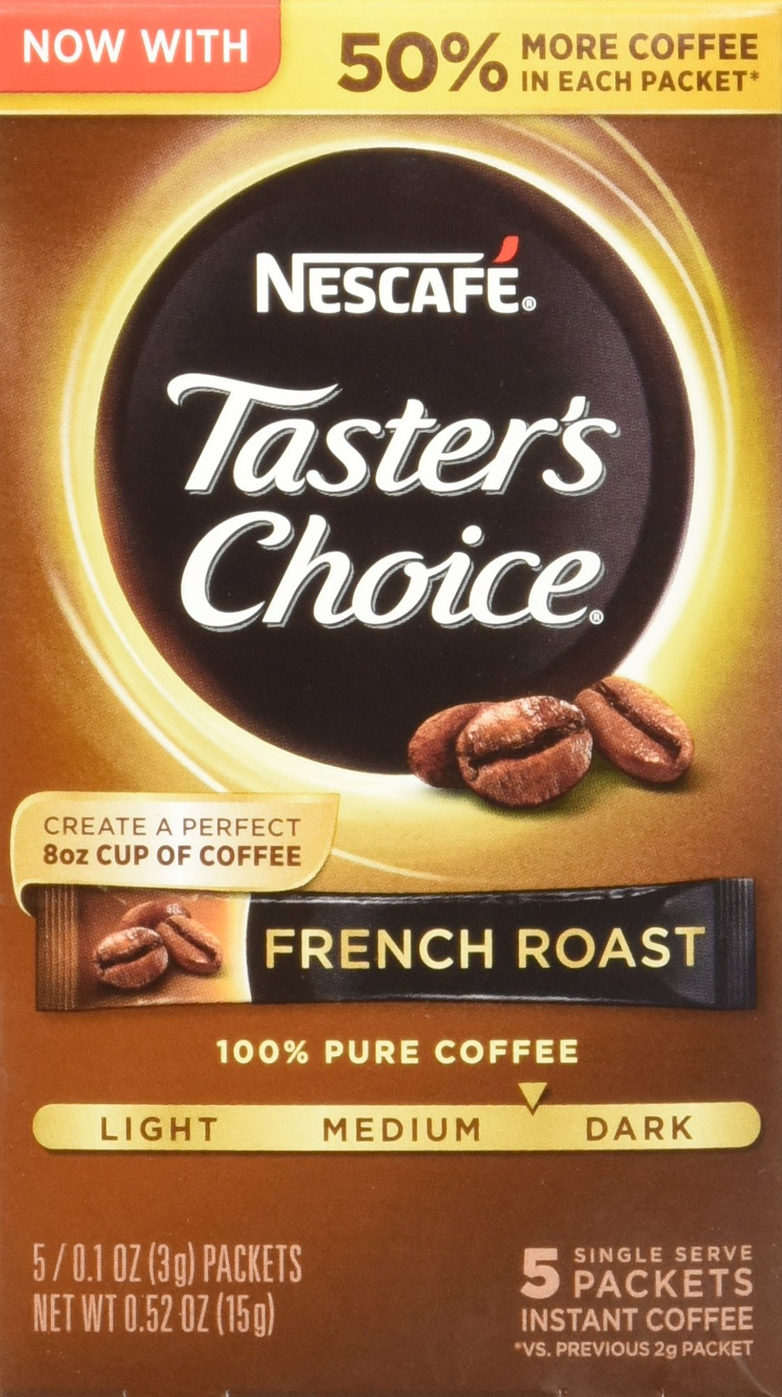 Nescafe Taster's Choice Instant Coffee, French Roast, 0.1 Ounce, 5 Count