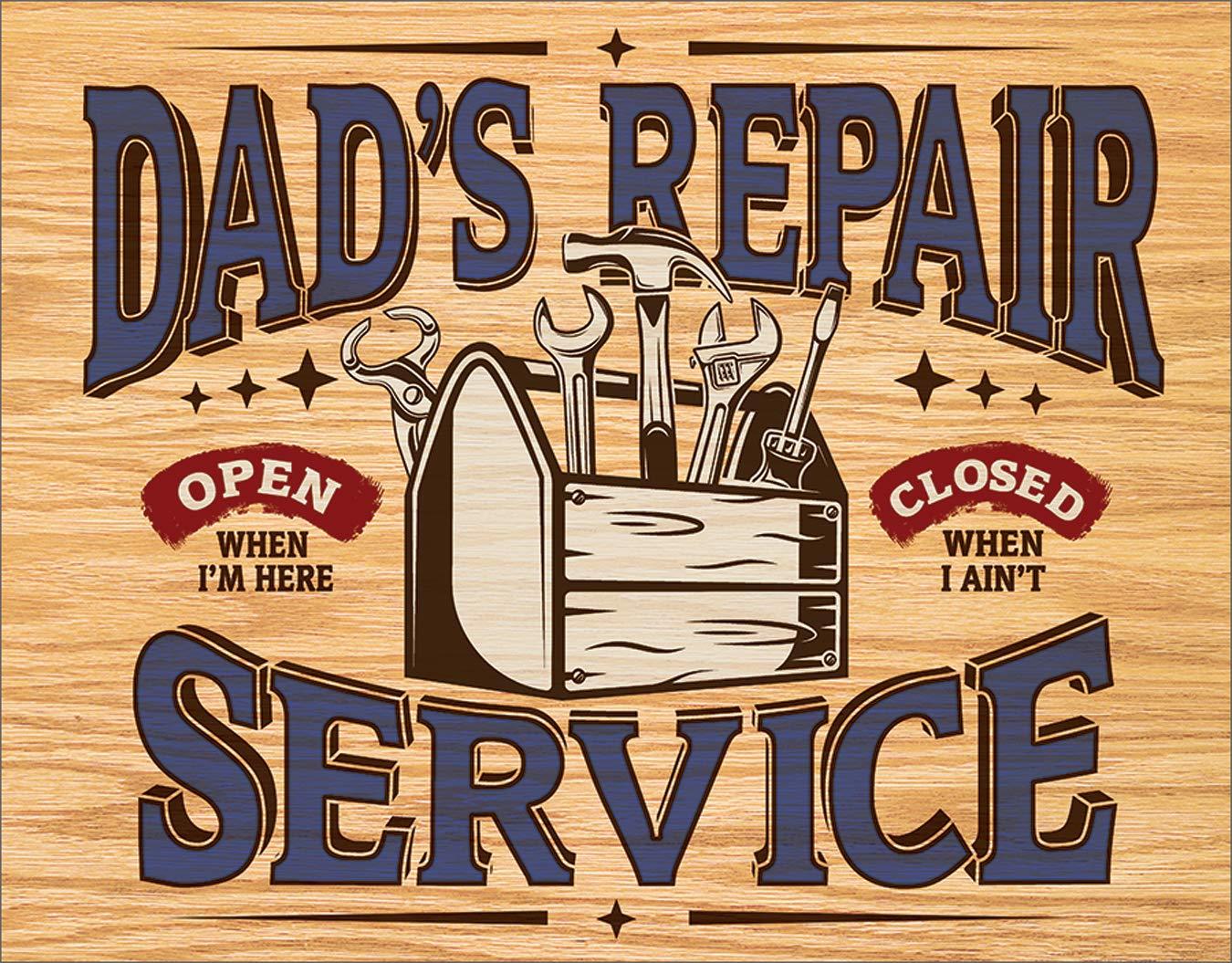 "Desperate Enterprises Dad's Repair Service Tin Sign, 16"" W x 12.5"" H"