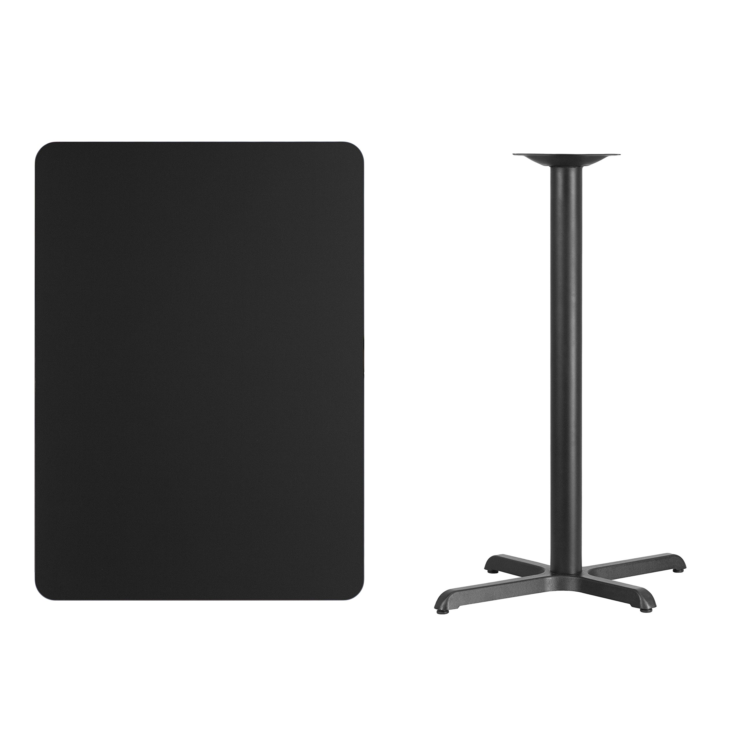 Flash Furniture 30'' x 42'' Rectangular Black Laminate Table Top with 22'' x 30'' Bar Height Table Base