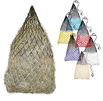 """Derby Originals 42"""" Superior Slow Feed Soft Mesh Poly Rope Hanging Hay Net  with 2x2"""" Holes - Ultimate Comfort for Horse's Muzzle - Multiple Colors"""