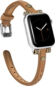 Wearlizer Leather Bands Compatible with Apple Watch Band 38mm 40mm for iWatch Womens Mens Special Slim Vintage Wristband Replacement Strap SE Series 6 5 4 3 2 1 - Dark Brown