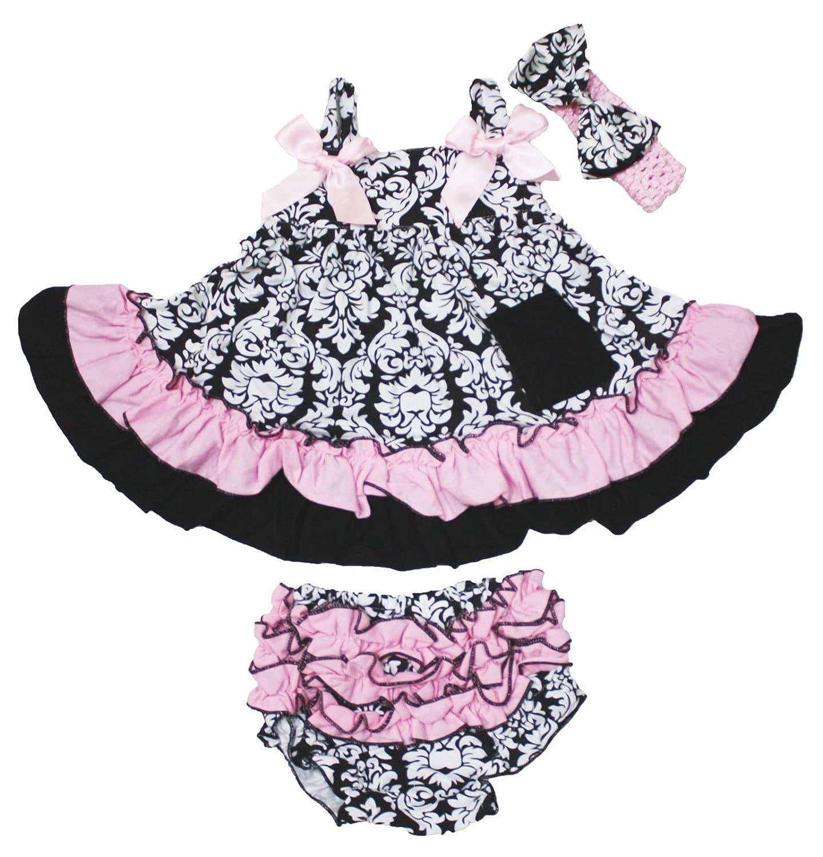 Damask Baby Dress Romper Jumpsuit A HOT PINK ROSE Hot Pink Skirt NB-12m