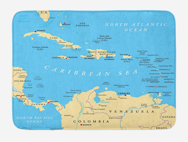 Wanderlust Bath Mat, Caribbean Political Map Capitals National ...