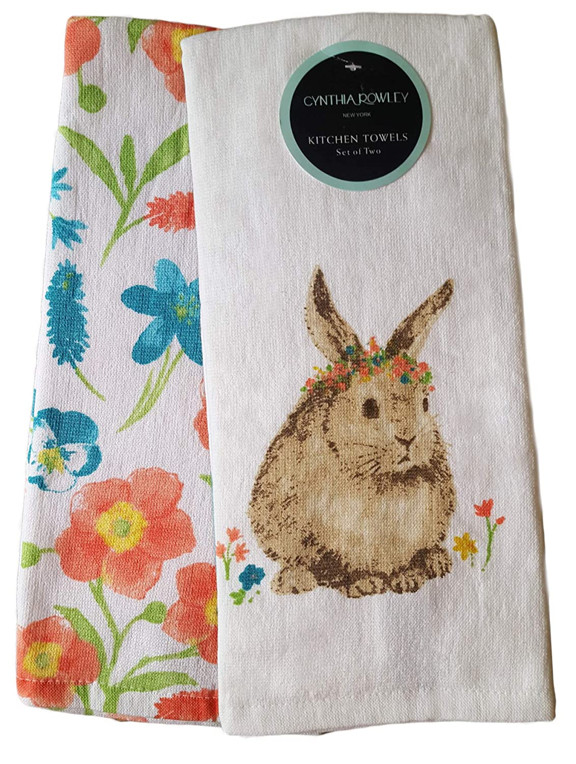 Cynthia Rowley Set of 2 Decorative Spring 100/% Cotton Super Absorbent Kitchen Towels Dish Cloths Bunny Pink Blue Flowers