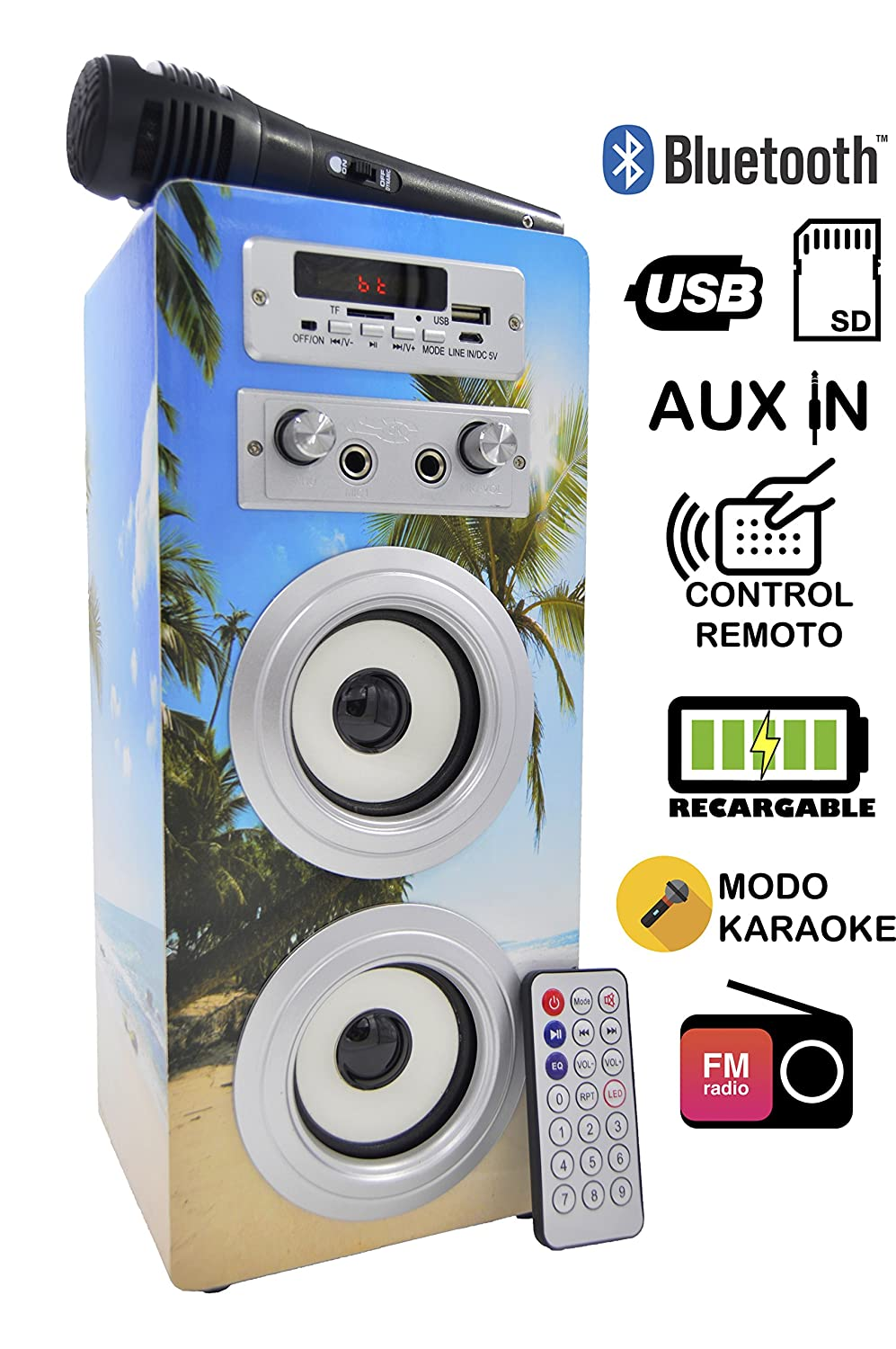 Dynasonic 025 Altavoz con Bluetooth para Karaoke, White Easo Plus Corporate 025-WHITE