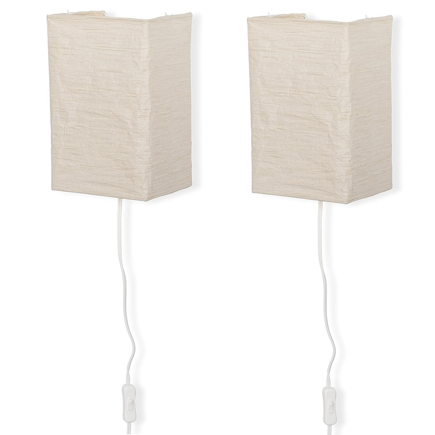 Wallniture Rice Paper Wall Mount Lamp Sconce with Toggle Switch Chandelier Light Bulbs Included Cream Set of 2 …
