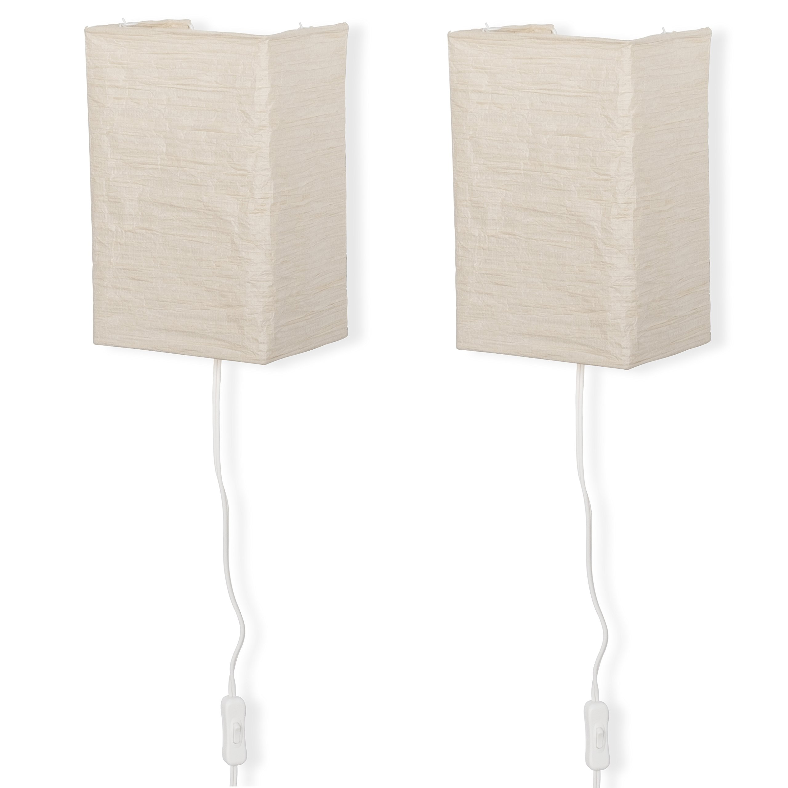 Wallniture Rice Paper Wall Mount Lamp Sconce with Toggle Switch Chandelier Light Bulbs Included Cream Set of 2