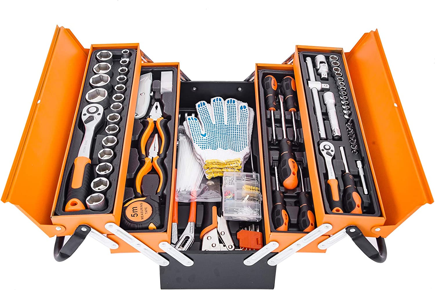 299-Piece Household Tool Kits with 3 Drawer Tool Box , Home/Auto Repair Tool Set with Hammer, Pliers, Screwdriver Set, Wrench Socket Kit and Toolbox Storage Case - Perfect for Homeowner, Diyer, Handyman