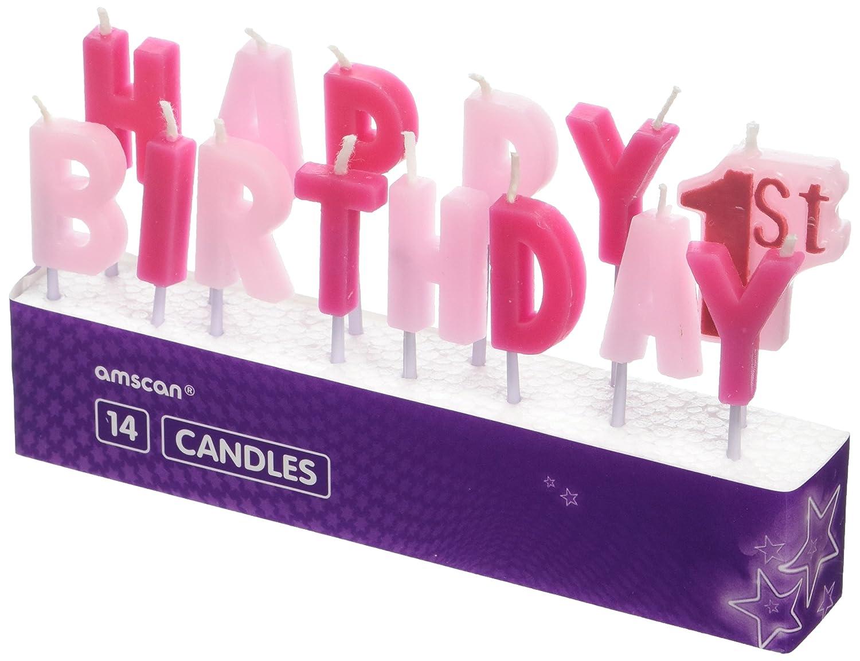 Velas rosas para primer cumpleaños, de Amscan International ...