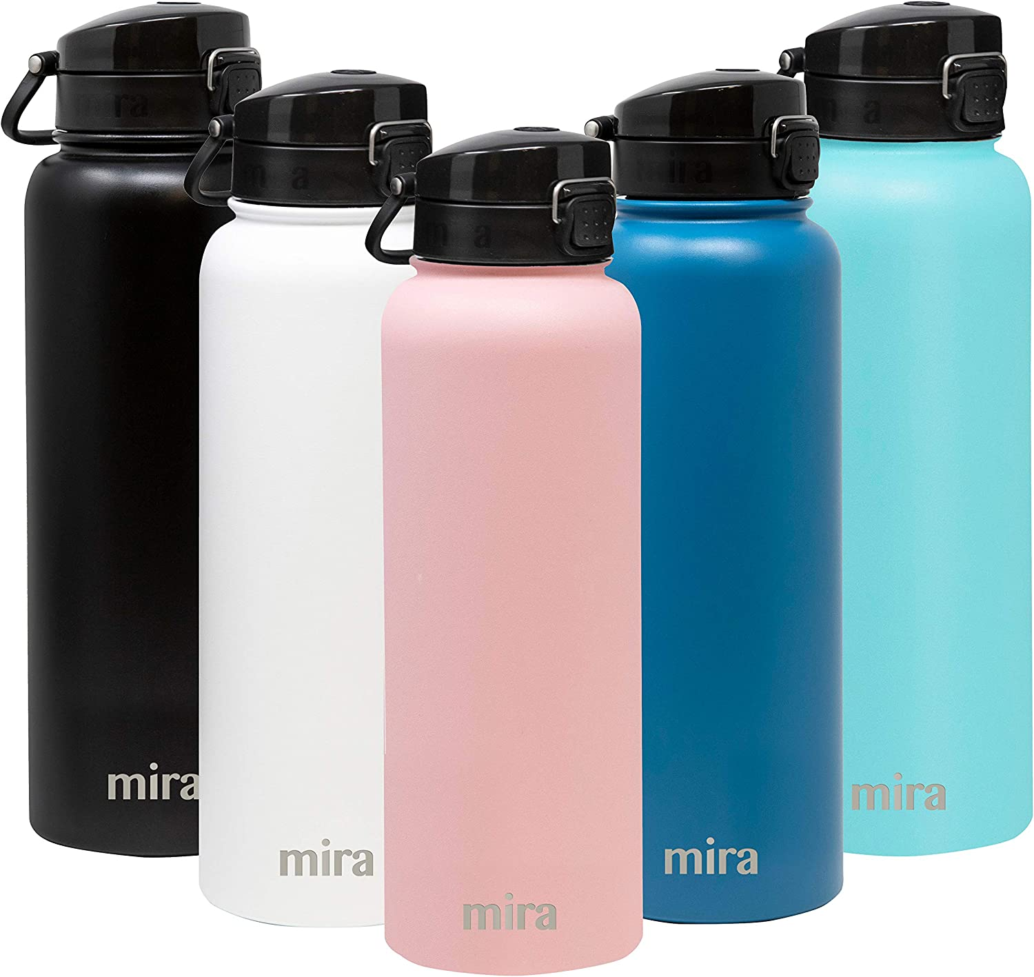 MIRA Stainless Steel Water Bottle - Hydro Vacuum Insulated Metal Thermos Flask Keeps Cold for 24 Hours, Hot for 12 Hours - BPA-Free One Touch Spout Lid Cap - 40 oz (1200 ml) Rose Pink