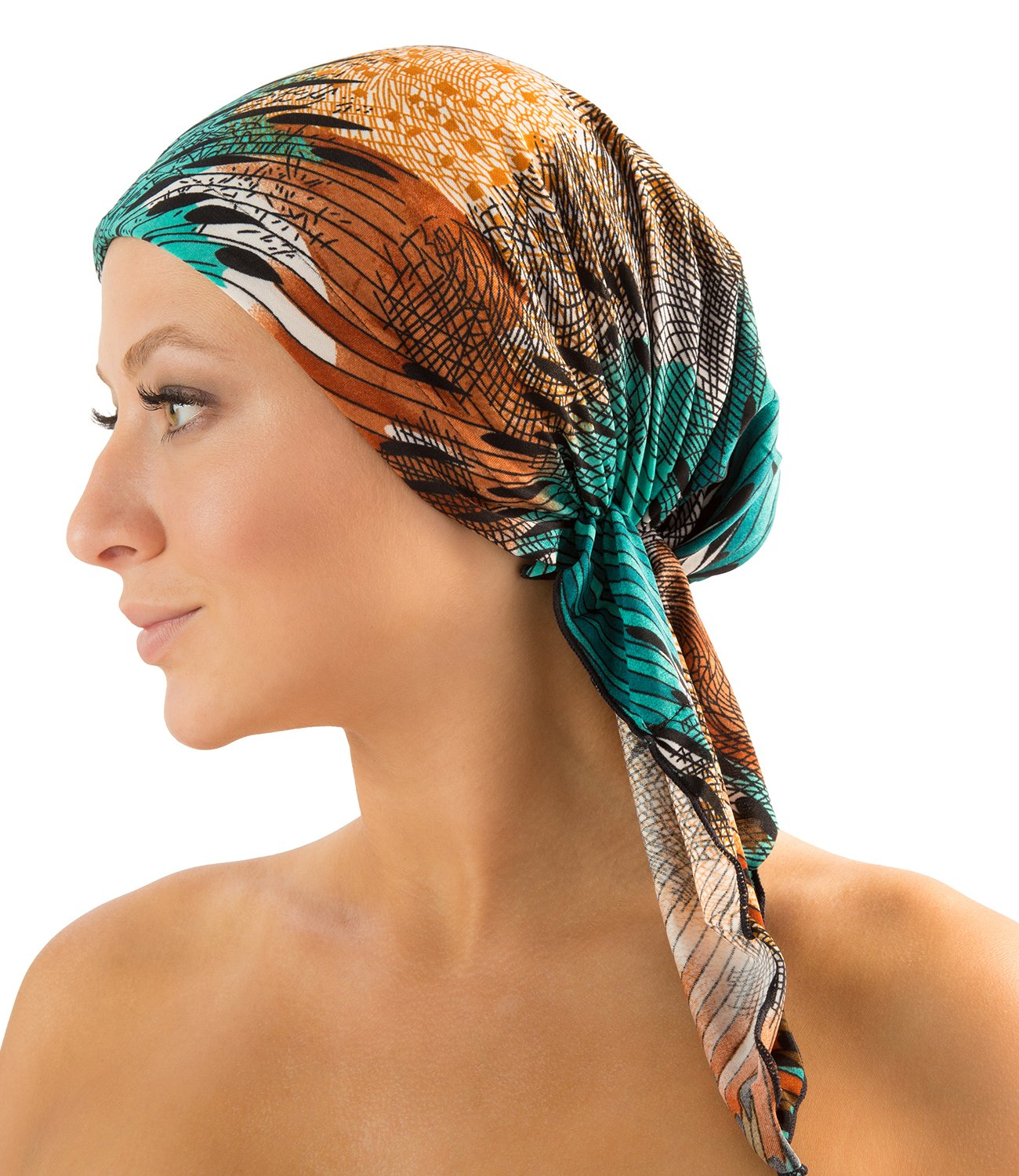 Ashford & Brooks Pre Tied Fitted Headscarf Bandana Chemo Head Scarf Hair Cover Sleep Turban - Blue/Pink Tropical Fronds