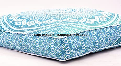 ombre mandala large floor cushion handmade lounge seating ottoman pillow cover indian oversized ottoman pouf square