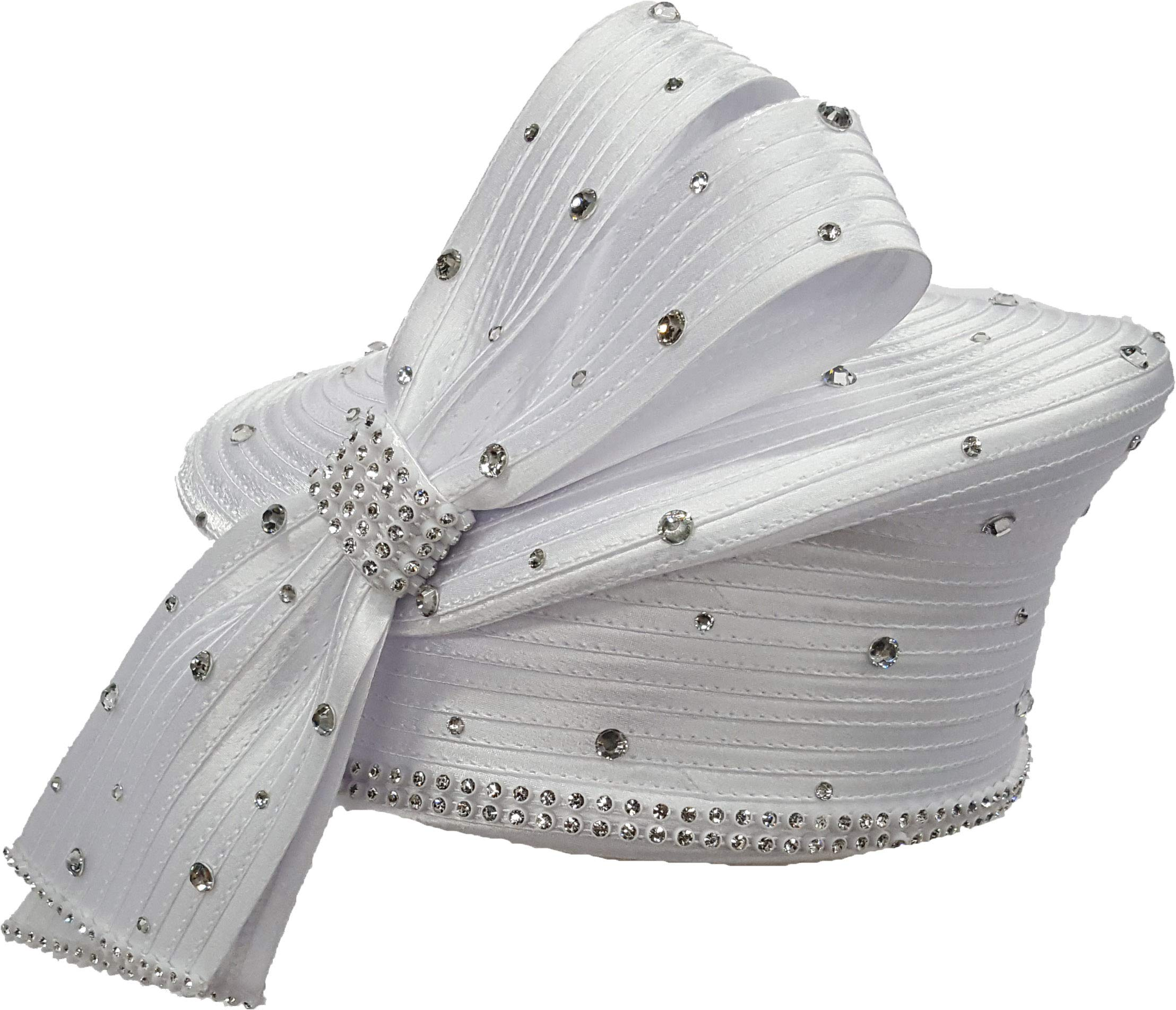 Women's Designer Couture Dressy Church or Derby Satin Ribbon Pillbox Hat (White)