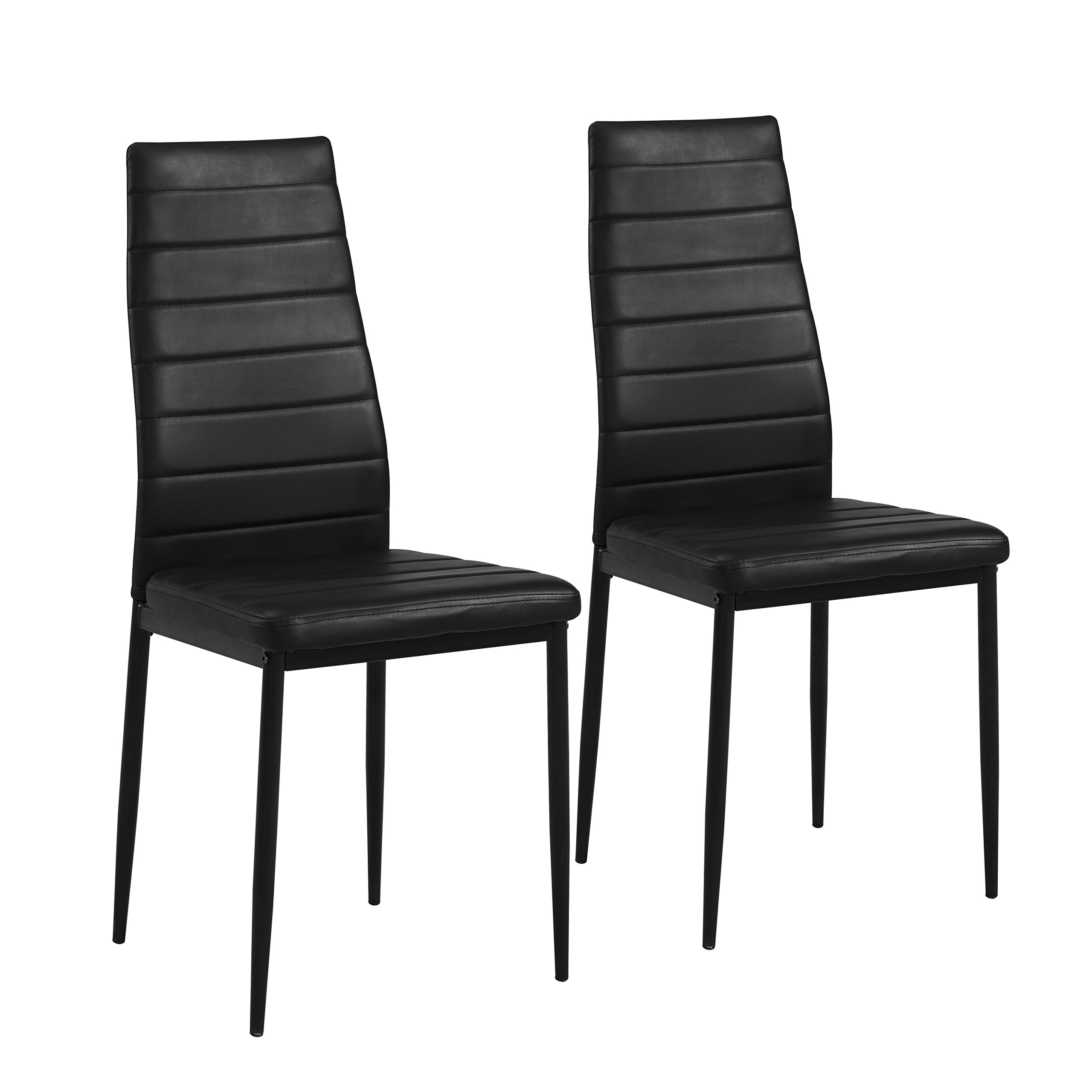 Comfortable,Stylish and Elegant Mainstays Parsons Dining Chair,Set of 2, Black Faux Leather,Perfect Way to Upgrade Your Dining Room