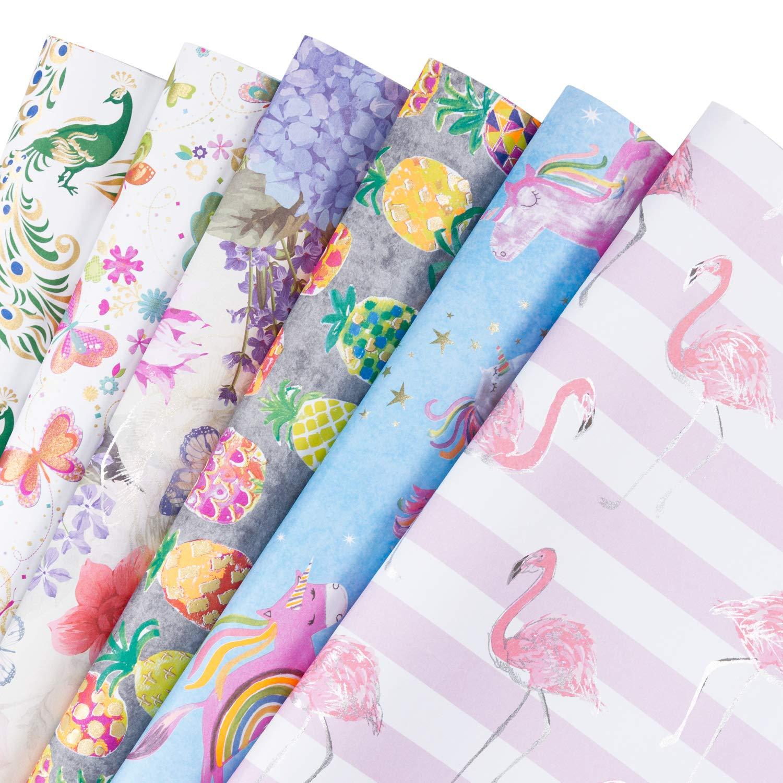 RUSPEPA Fogli di carta da regalo - Flamingo/Feather / Rainbow Pony Summer Element Collection -6 Folded fogli-50cm X70CM