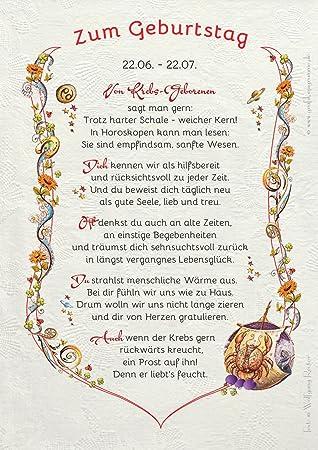 Geburtstag Im Sternzeichen Krebs Geschenk Gedicht Amazon