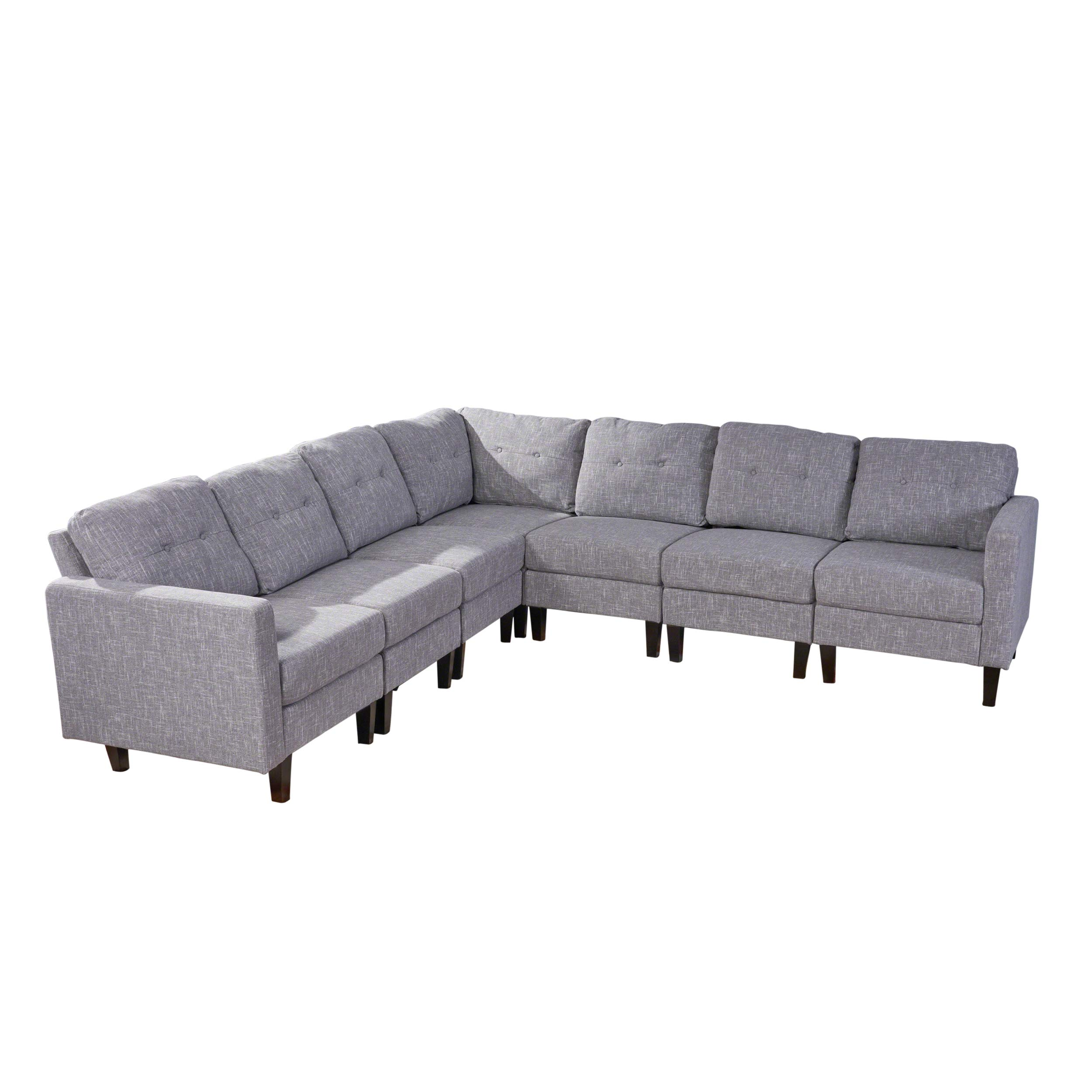 Christopher Knight Home Marsh Mid Century Modern Extended Sectional Sofa Set, Gray Tweed, Dark Brown by Christopher Knight Home