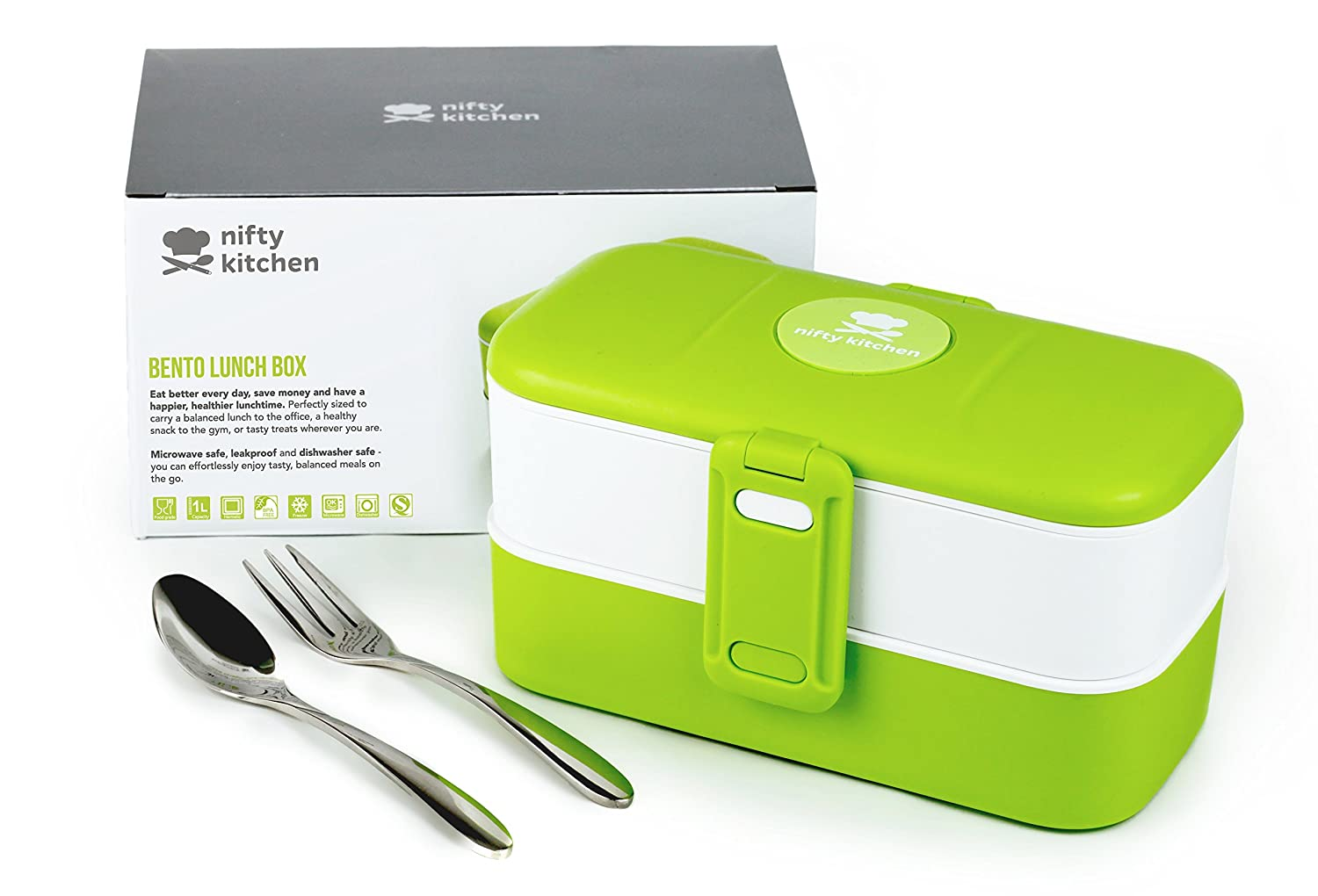 Bento Lunch Box - Microwave Safe for Adults & Kids - With LeakStopper Lids to Prevent Spills in Your Work or School Bag - 2 Compartments with Cutlery + Bonus Recipes eBook Nifty Kitchen