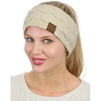 4 C.C Soft Stretch Winter Warm Cable Knit Fuzzy Lined Ear Warmer Headband 9787f9e6fbaf