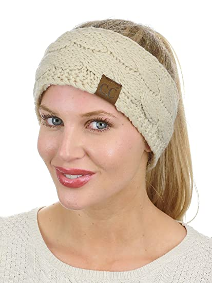 0e4fdb41338 C.C Soft Stretch Winter Warm Cable Knit Fuzzy Lined Ear Warmer Headband