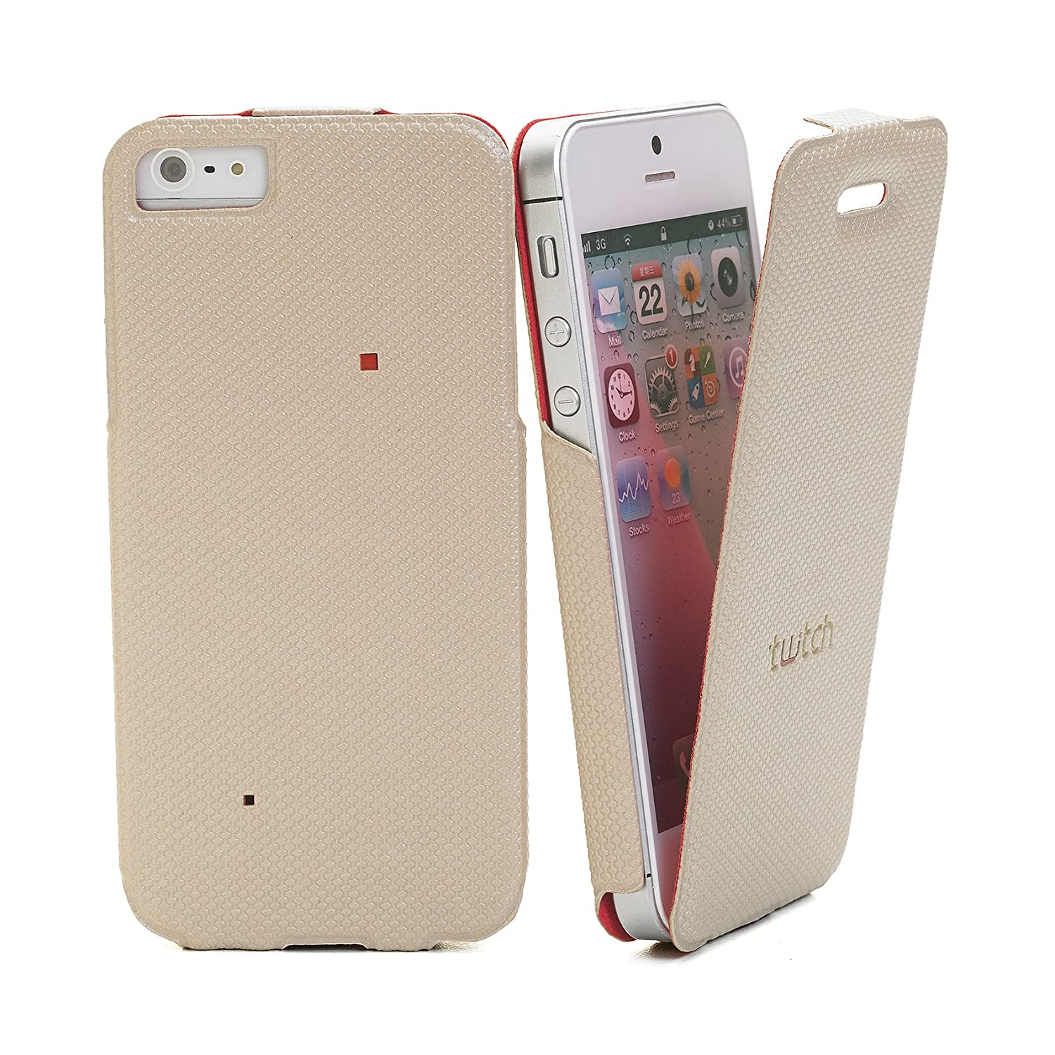 Amazon.com: Twitch Flip Case Cover for iPhone 5S – Beige/Red ...