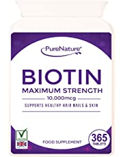 Biotin 10,000mcg - 365 Tablets - 12-Month Supply, For Healthy Hair, Nail and Skin Support.
