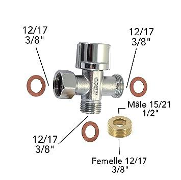 robinet darrt 3 voies douchette wc adaptateur de raccord joints 12 - Adaptateur Douchette Sur Robinet