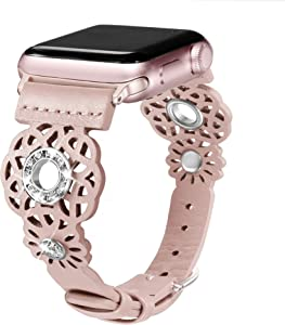 Secbolt Leather Bands Compatible with Apple Watch Band 38mm 40mm iWatch Series 6/5/4/3/2/1 SE, Soft Top Grain Genuine Leather with Rhinestones Wristband Strap Accessories Women, Pink Small
