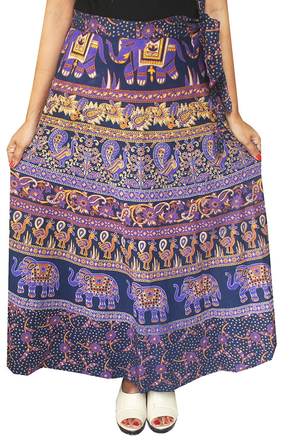 Maple Clothing Womens Printed Long Cotton Wrap Skirt India Apparel One Size) w1110163a