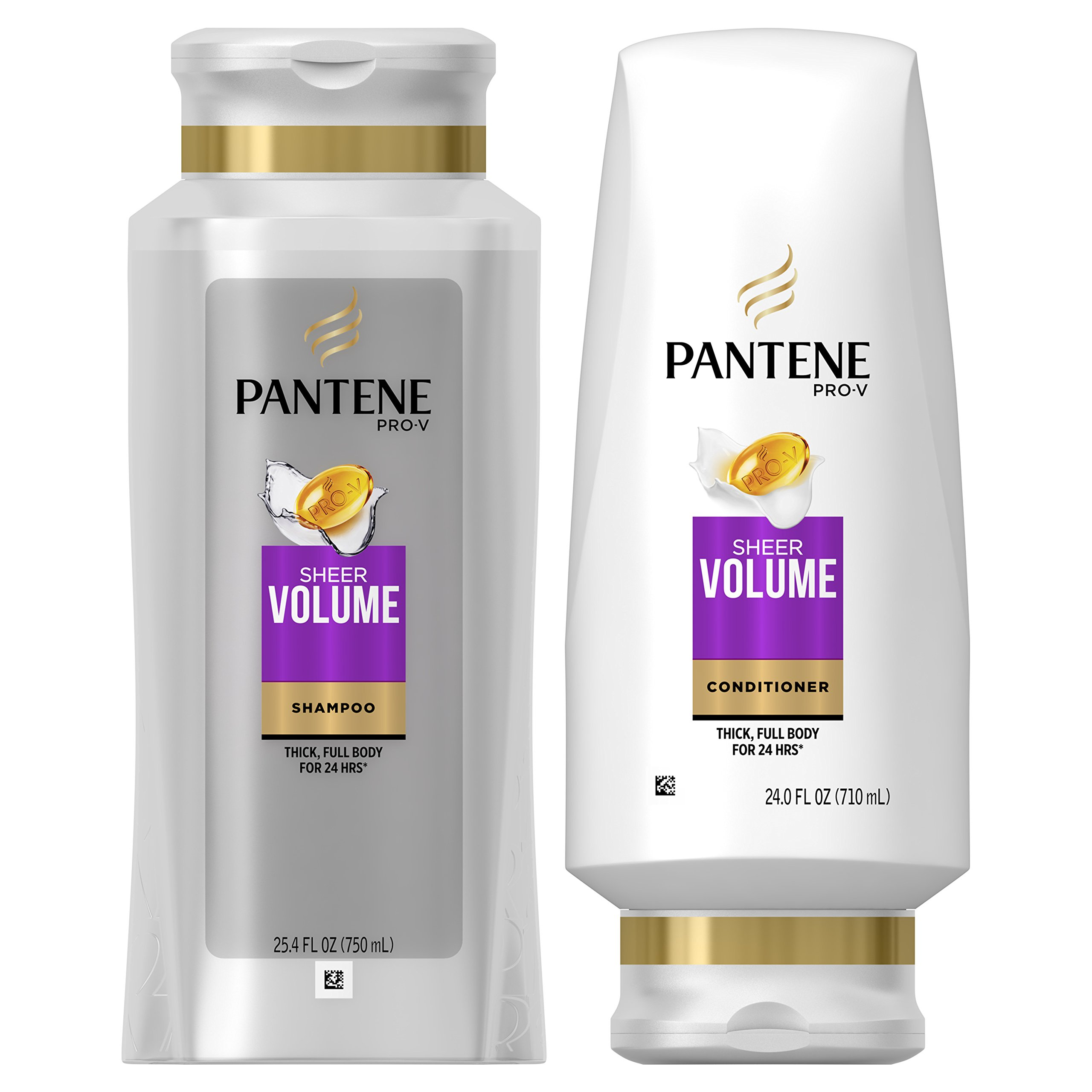 Pantene Volumizing Shampoo and Sulfate Free Conditioner for Fine Hair, Sheer Volume, 25.4 Fl Oz (Pack of 2)