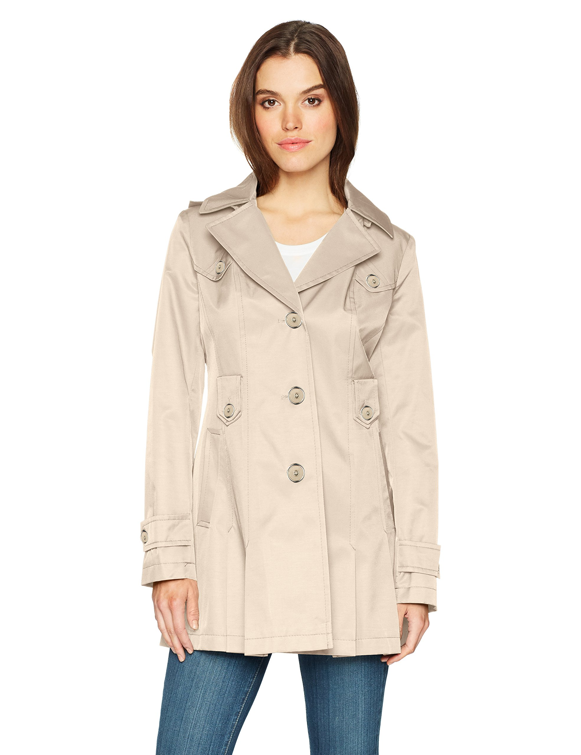 b5e70e958a1 Amazon.com  Via Spiga Women s Single-Breasted Belted Trench Coat with Hood