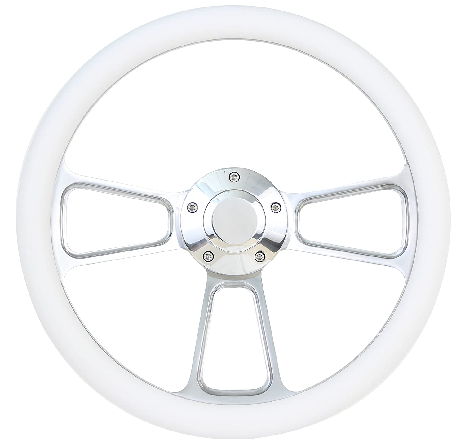 Forever Sharp White Boat Steering Wheel 14 Inch Aluminum With Adapter