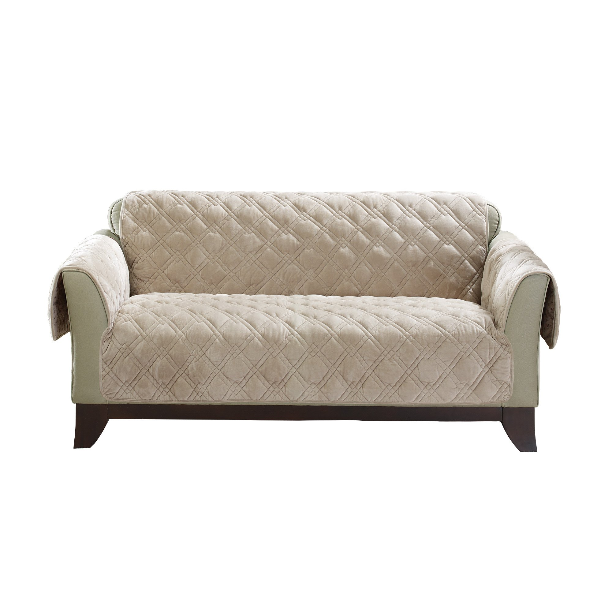 Sure Fit Plush Comfort Furniture Protector with Non Slip Backing, Loveseat, Taupe by Surefit